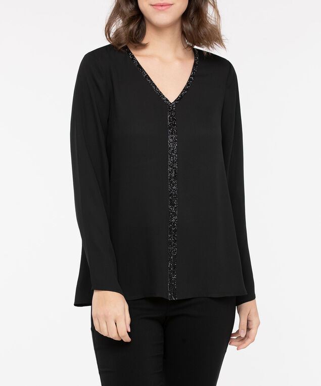 Crystal Trim V-Neck Blouse, Black, hi-res