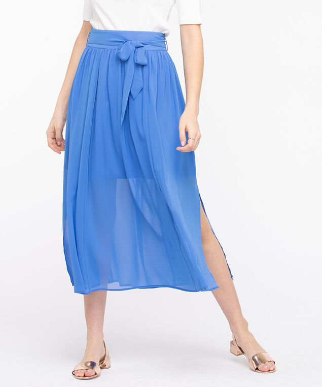 Gathered Tie Waist Midi Skirt, Bijou Blue, hi-res