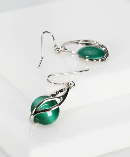 Spiral Wrapped Cateye Earring, Rhodium/Soft Teal, hi-res