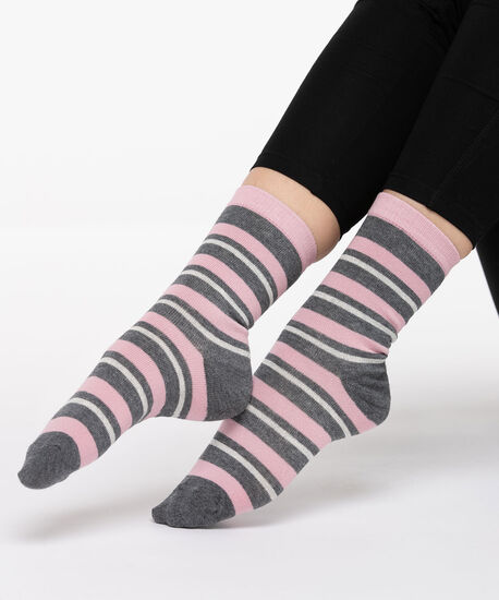 Sparkly Striped Socks, Mid Heathered Grey/Dusty Blush, hi-res