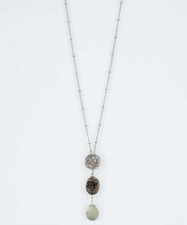 Wire Wrapped & Natural Stone Necklace, Rhodium/Mid Heathered Grey, hi-res