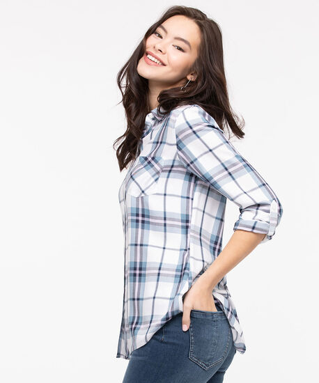 Plaid Button Front Collared Shirt, Pearl/Soft Blue/Lavender, hi-res