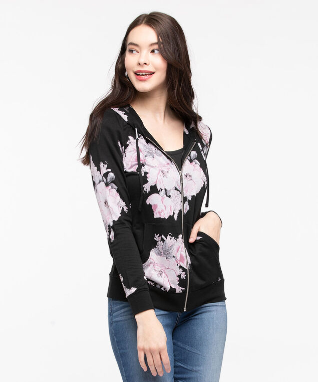 Floral Zip-Front Hoodie, Black/Rose Petal/Grey, hi-res