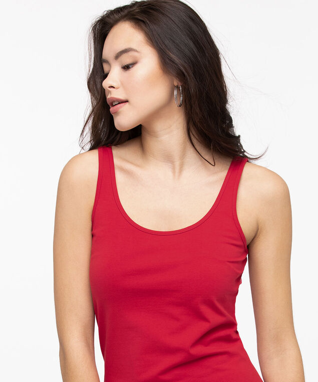 Scoop Neck Cami, Hibiscus, hi-res
