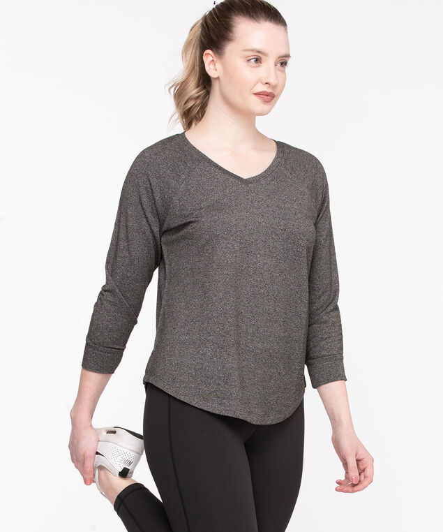 V-Neck Rounded Hem Pullover, Black Mix