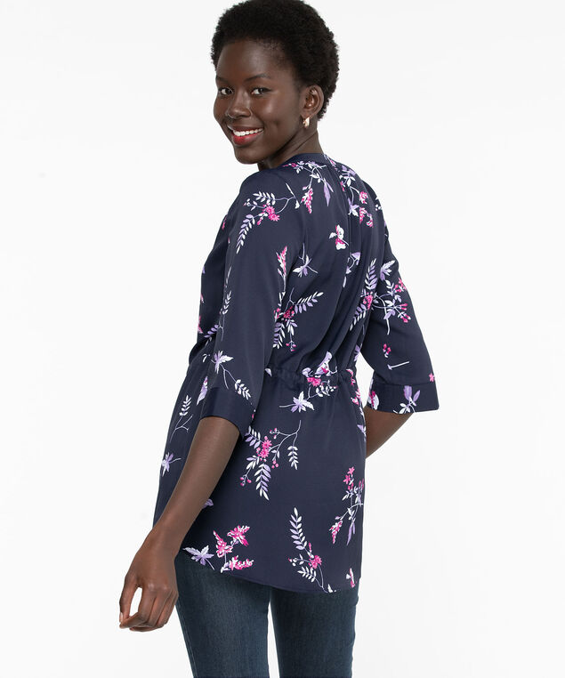 Button Front Tunic Length Blouse, Navy Floral