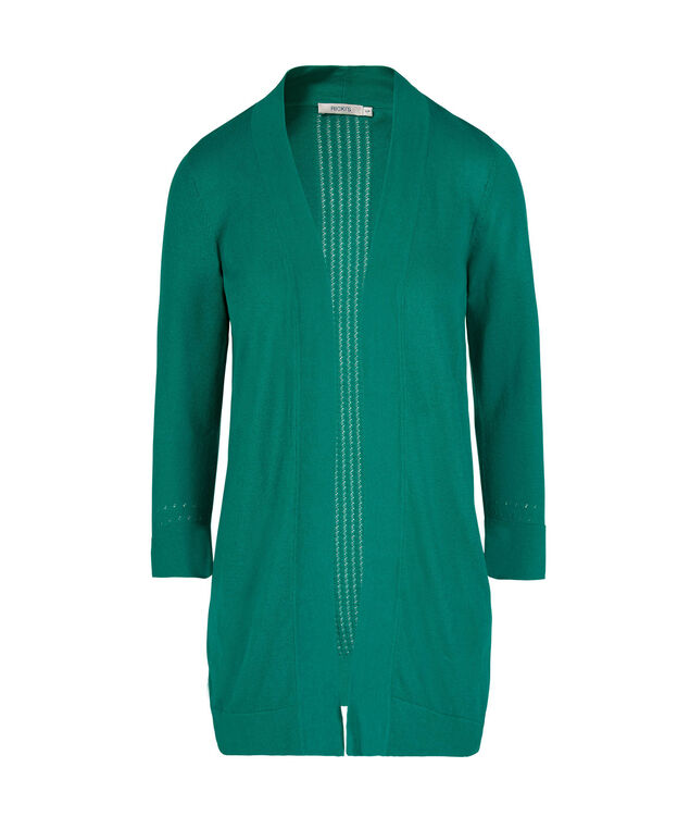Pointelle Back Open Cardigan, Peacock Green, hi-res