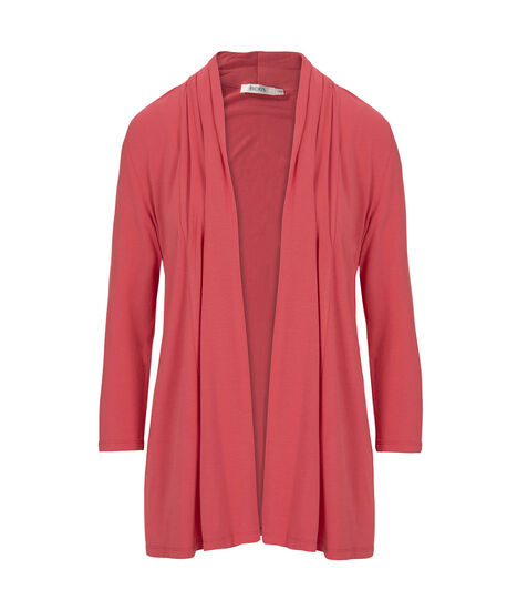 Pleated Neck Open Cardigan, Coral Reef, hi-res