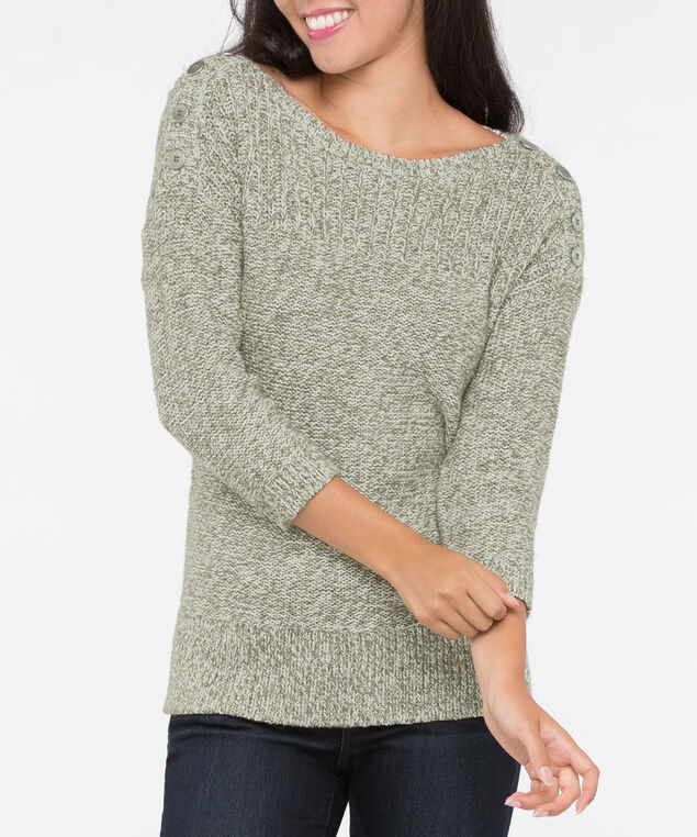 Silver Button Trim Pullover Sweater, Autumn Olive Mix, hi-res