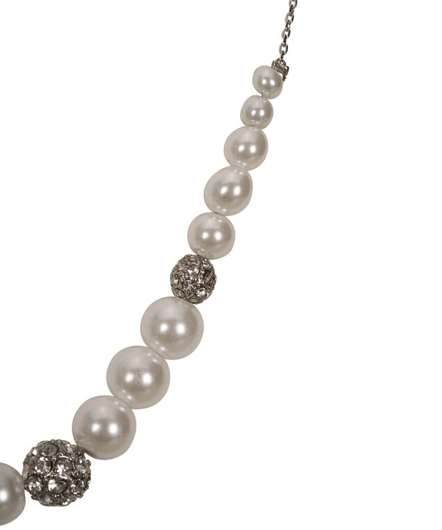 Pearl & Fireball Mini Statement Necklace, White/Rhodium, hi-res