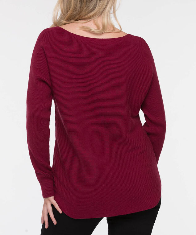 Ribbed Boatneck Pullover Sweater, Burgundy, hi-res