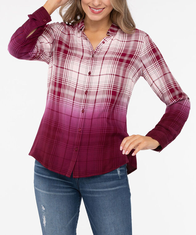 Plaid Ombre Button Down Shirt, Burgundy/Soft Pink, hi-res