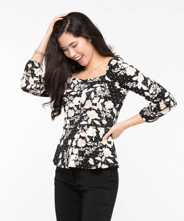 Square Neck Floral Peplum Top, Black/Pearl/Stone, hi-res