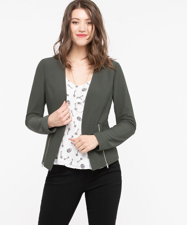 Zipper Trim Easy Stretch Blazer, Basil, hi-res