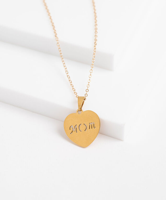 Mom Engraved Heart Pendant Necklace, Gold