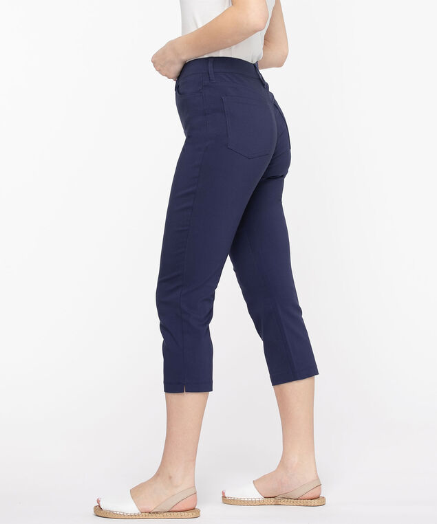 Microtwill Pull-On Crop Pant, Peacoat