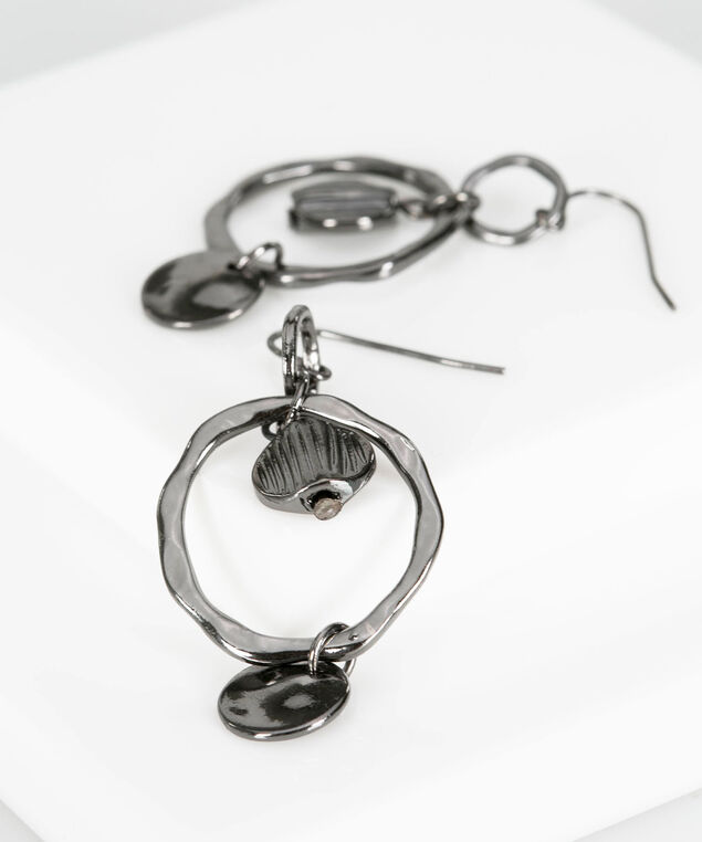 Hammered Hematite Ring Earring, Hematite, hi-res