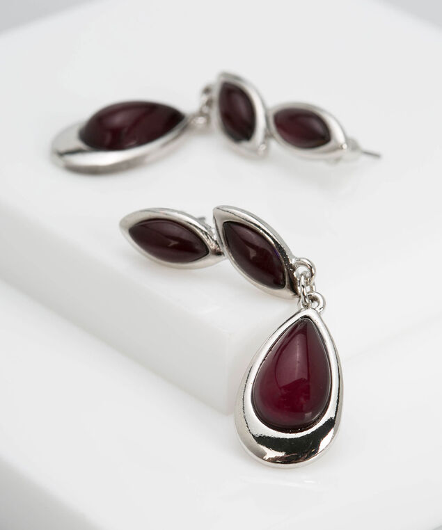 Cateye Leaf Trio Earring, Rhodium/Dark Rust, hi-res