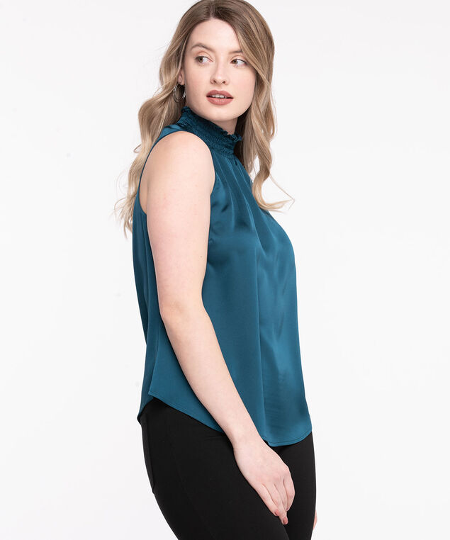 Sleeveless Smocked Neck Satin Blouse, Reef Waters