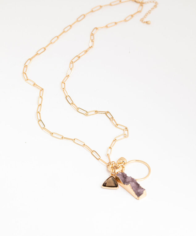 Chain Link Charm Necklace, Brushed Gold