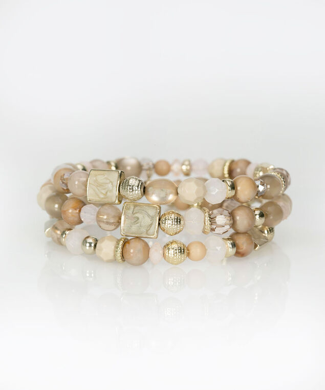 Beaded Coil Bracelet, Taupe/Blush/Soft Gold, hi-res
