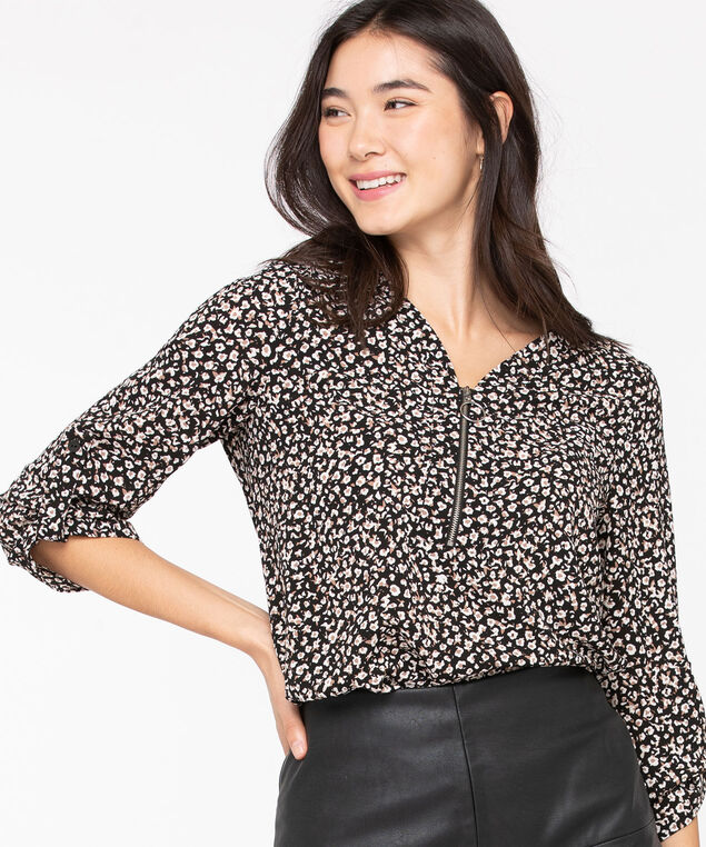 Zipper Front V-Neck Blouse, Black/Fawn/Almond, hi-res