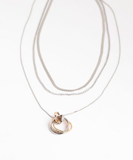 Layered Mixed Metal Pendant Necklace, Silver/Gold, hi-res