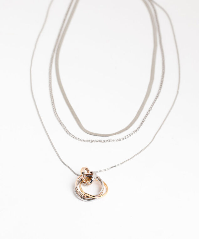 Layered Mixed Metal Pendant Necklace, Silver/Gold