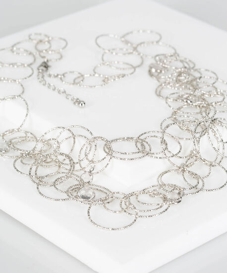 Intertwined Ring & Crystal Statement Necklace, Rhodium, hi-res