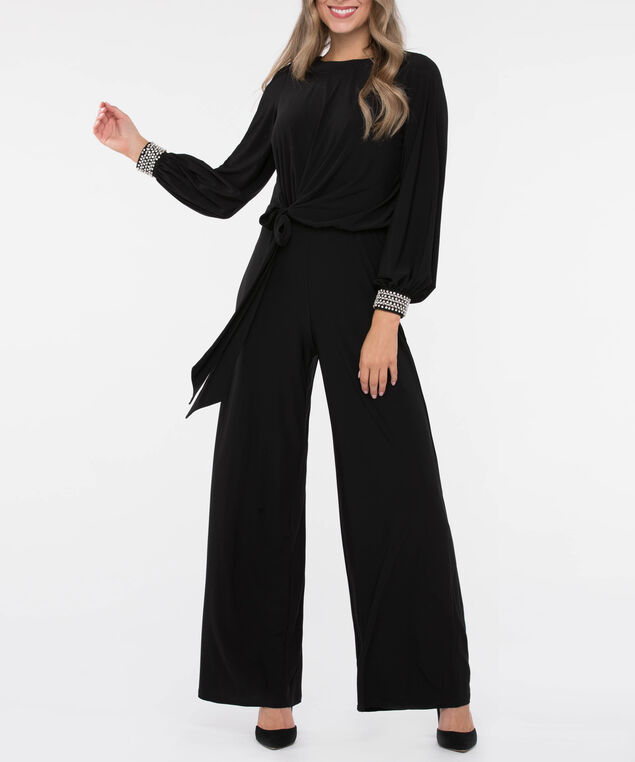 Pearl Trim Tie Waist Jumpsuit, Black, hi-res