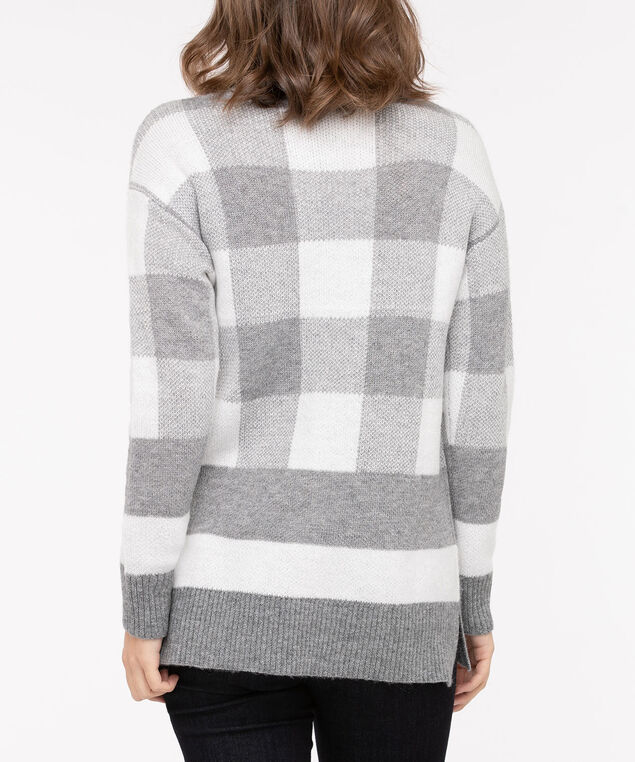 Stripe & Check Mock Neck Sweater, Light Heather Grey/Pearl, hi-res