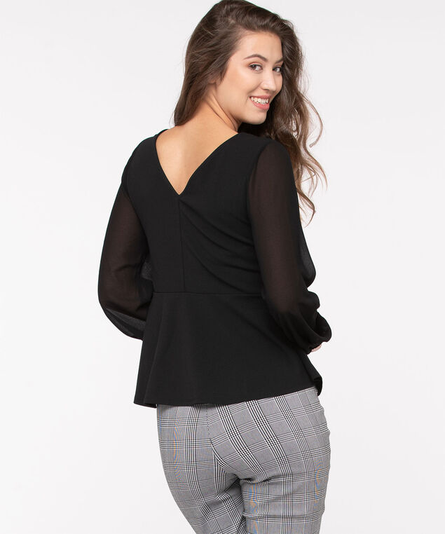 Sheer Sleeve Wrap Front Top, Black, hi-res