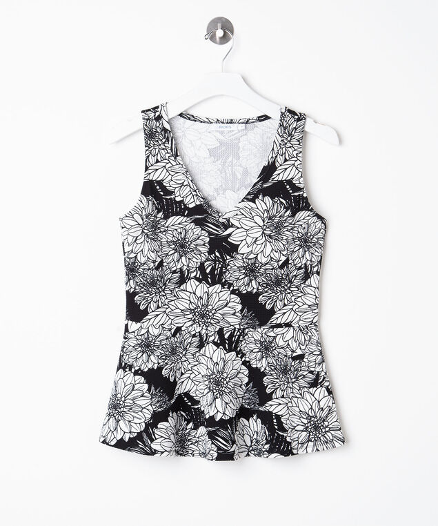 Sleeveless V-Neck Peplum Top, Black/Pearl, hi-res