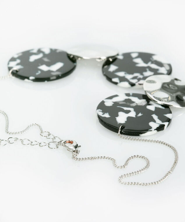 Resin & Metal Disc Statement Necklace, Black/White/Rhodium, hi-res