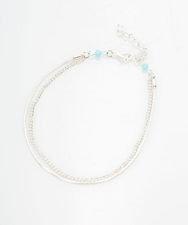 Layered Chain Anklet, Rhodium/Pale Blue, hi-res