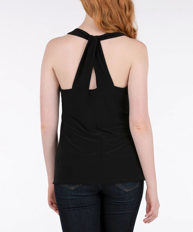 V-Neck Racer Back Halter Top, Black, hi-res