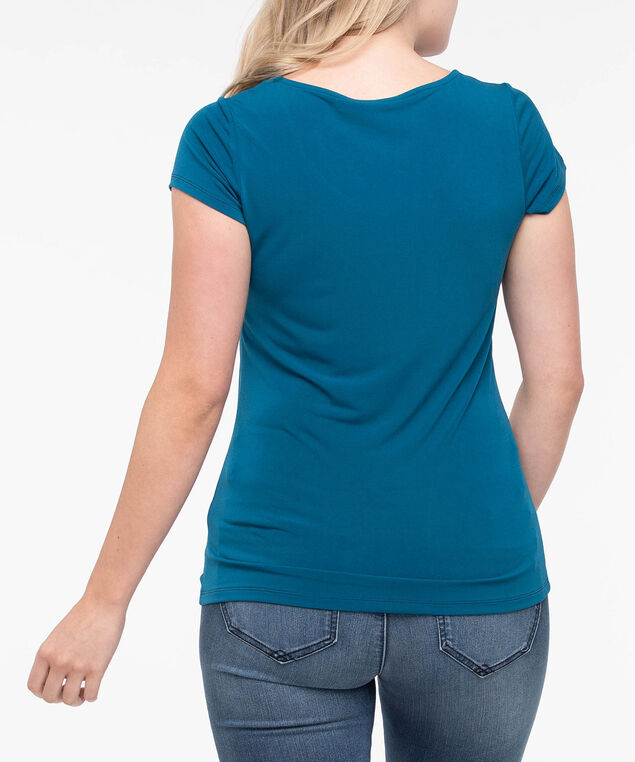 Short Sleeve Scoop Neck Top, Steel Blue, hi-res