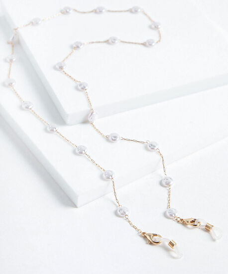 Pearl Shell Mask & Sunglasses Chain, Gold, hi-res