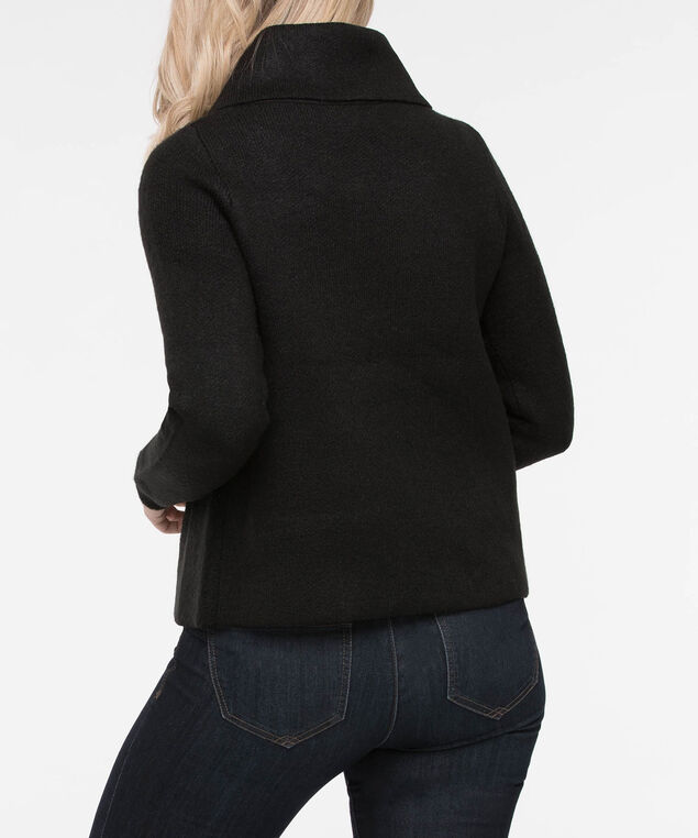 One Button Cropped Sweater Jacket, Black, hi-res