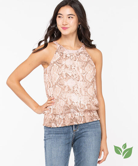 Eco-Friendly Python Halter Blouse, Soft Blush/Taupe/Ivory, hi-res