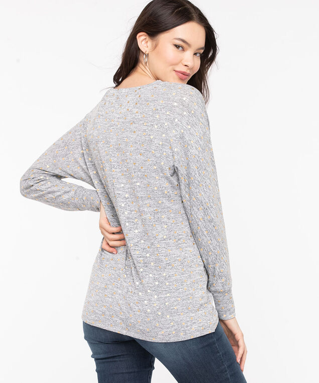 Foil Heart Tulip Hem Top, Grey Mix/Gold Foil, hi-res