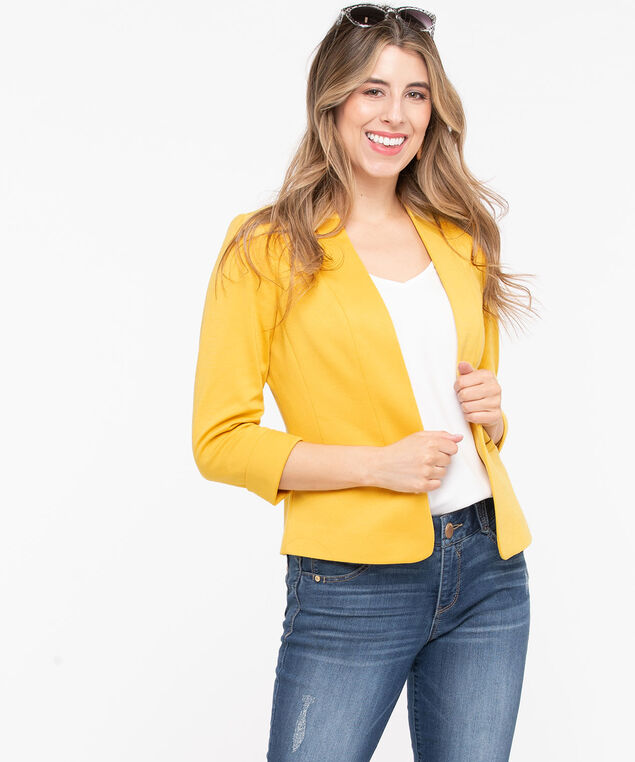 Open Front Crop Blazer, Gold, hi-res