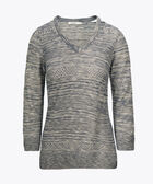 Cutout V-Neck Pointelle Pullover, Navy/True White, hi-res