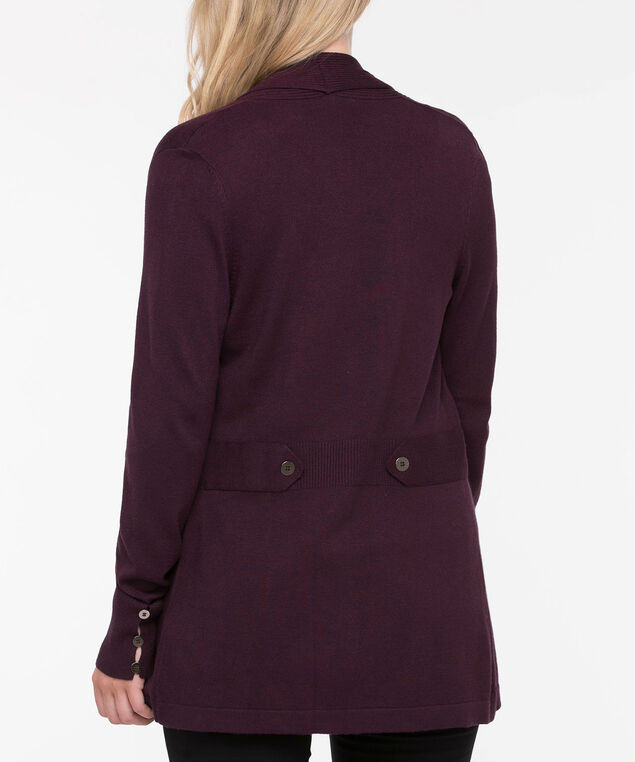 Side Tab Ribbed Trim Cardigan, Plum, hi-res