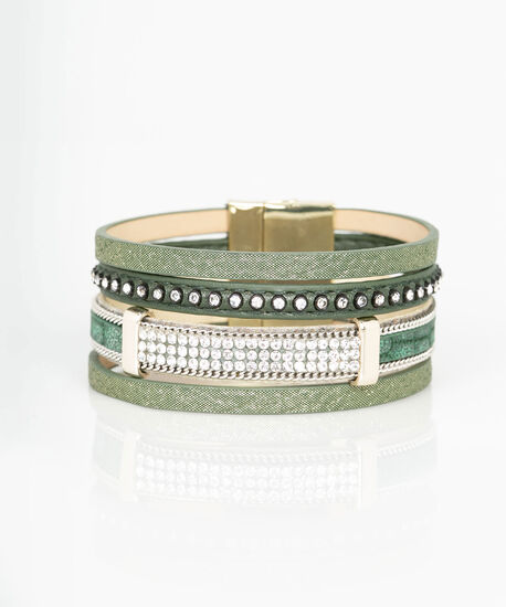 Chain & Crystal Faux Leather Wrap Bracelet, Moss/Rhodium, hi-res