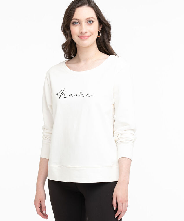 Cotton Blend French Terry Pullover, White/Mama