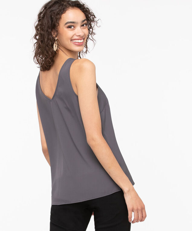Double-V Woven Layering Cami, Iron, hi-res