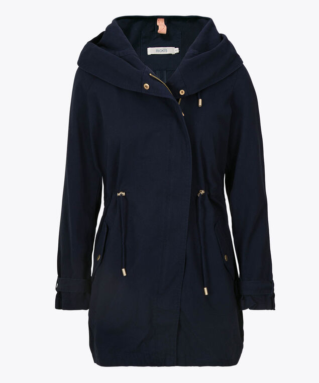Hooded Cotton Anorak, Deep Sapphire, hi-res