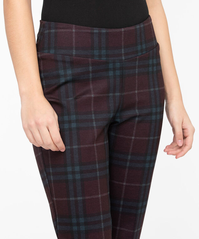 Plaid Ponte Slim Ankle Pant, Berry/Black, hi-res