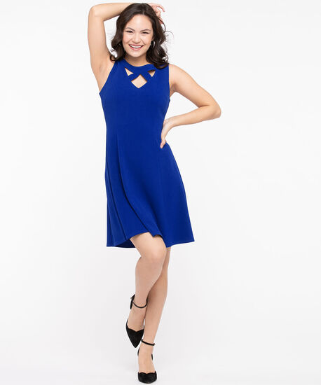 Cut-Out Fit & Flare Dress, Azure, hi-res